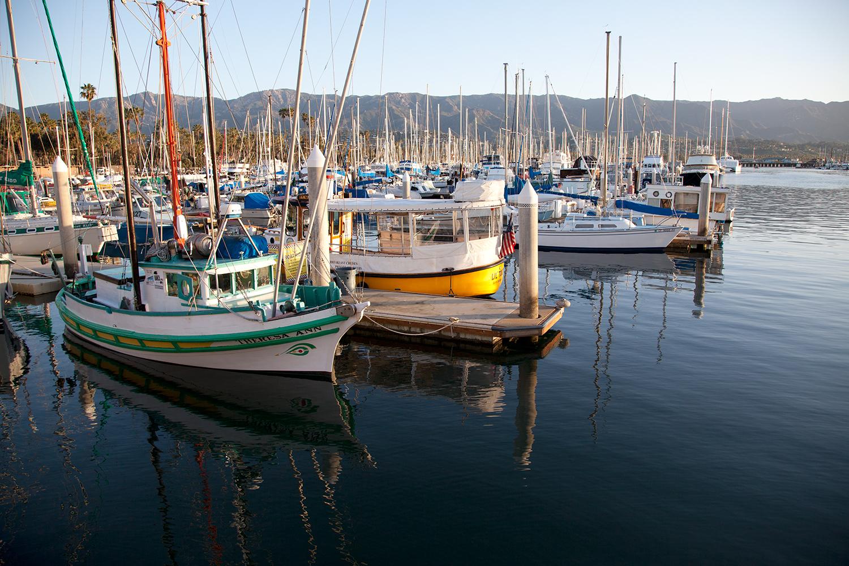 Boats in the Santa Barbara Harbor.